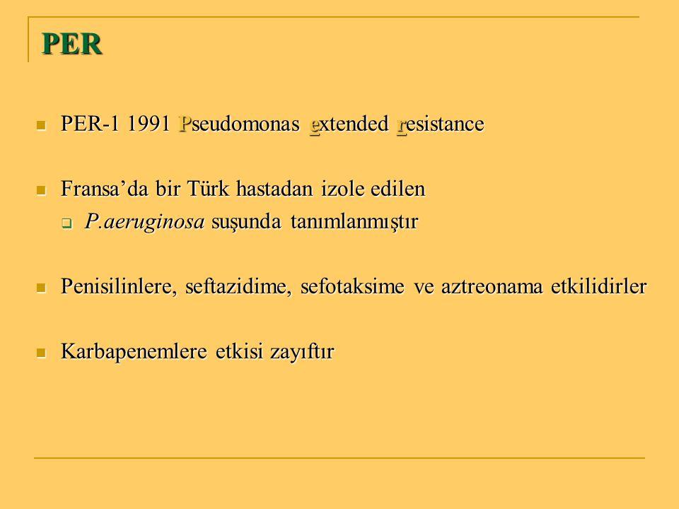 PER PER-1 1991 Pseudomonas extended resistance PER-1 1991 Pseudomonas extended resistance Fransa'da bir Türk hastadan izole edilen Fransa'da bir Türk