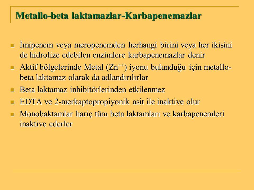 Metallo-beta laktamazlar-Karbapenemazlar İmipenem veya meropenemden herhangi birini veya her ikisini de hidrolize edebilen enzimlere karbapenemazlar d