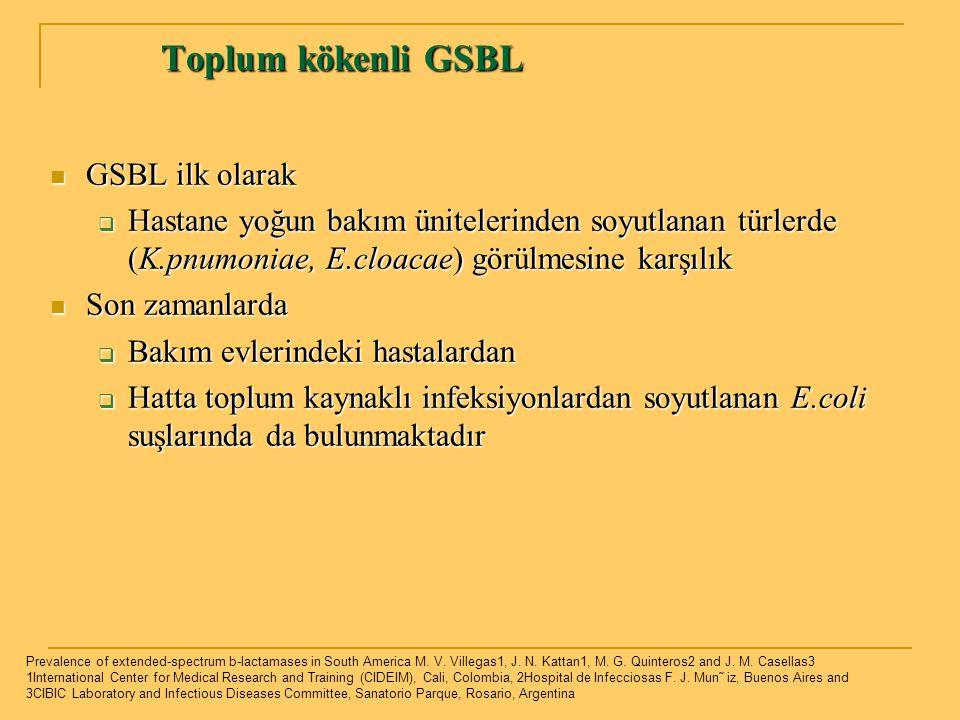 Toplum kökenli GSBL Toplum kökenli GSBL GSBL ilk olarak GSBL ilk olarak  Hastane yoğun bakım ünitelerinden soyutlanan türlerde (K.pnumoniae, E.cloaca