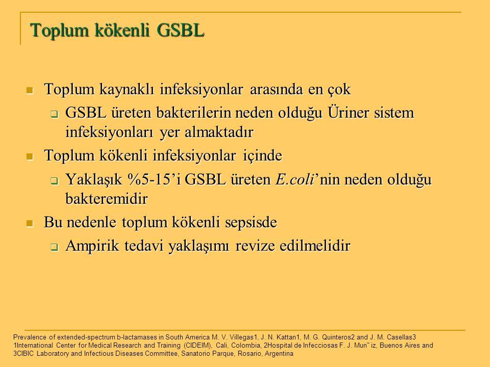 Toplum kökenli GSBL Toplum kaynaklı infeksiyonlar arasında en çok Toplum kaynaklı infeksiyonlar arasında en çok  GSBL üreten bakterilerin neden olduğ