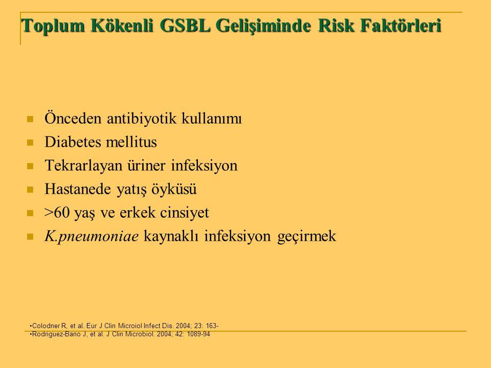 Toplum Kökenli GSBL Gelişiminde Risk Faktörleri Önceden antibiyotik kullanımı Diabetes mellitus Tekrarlayan üriner infeksiyon Hastanede yatış öyküsü >