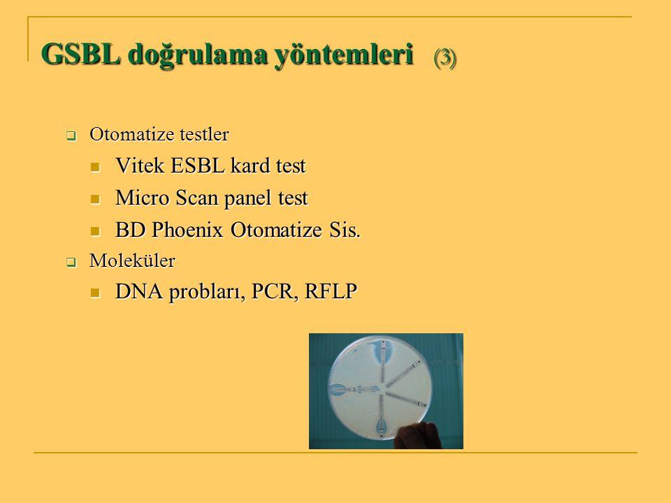 GSBL doğrulama yöntemleri (3)  Otomatize testler Vitek ESBL kard test Vitek ESBL kard test Micro Scan panel test Micro Scan panel test BD Phoenix Oto