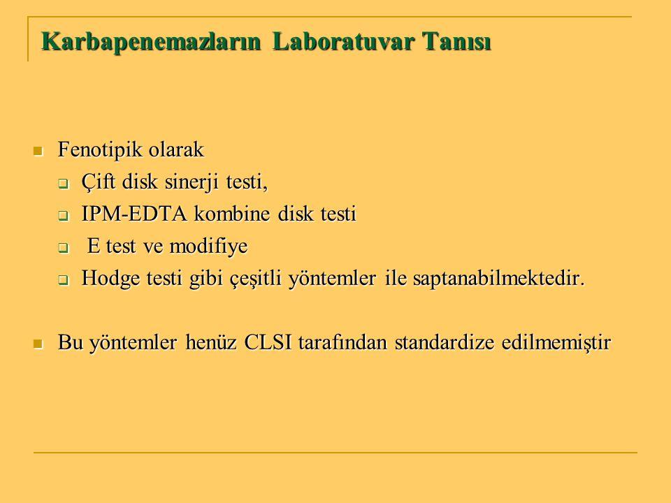 Karbapenemazların Laboratuvar Tanısı Fenotipik olarak Fenotipik olarak  Çift disk sinerji testi,  IPM-EDTA kombine disk testi  E test ve modifiye 