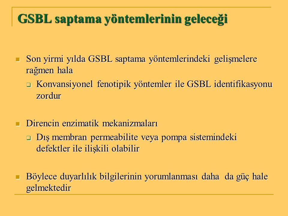 GSBL saptama yöntemlerinin geleceği Son yirmi yılda GSBL saptama yöntemlerindeki gelişmelere rağmen hala Son yirmi yılda GSBL saptama yöntemlerindeki