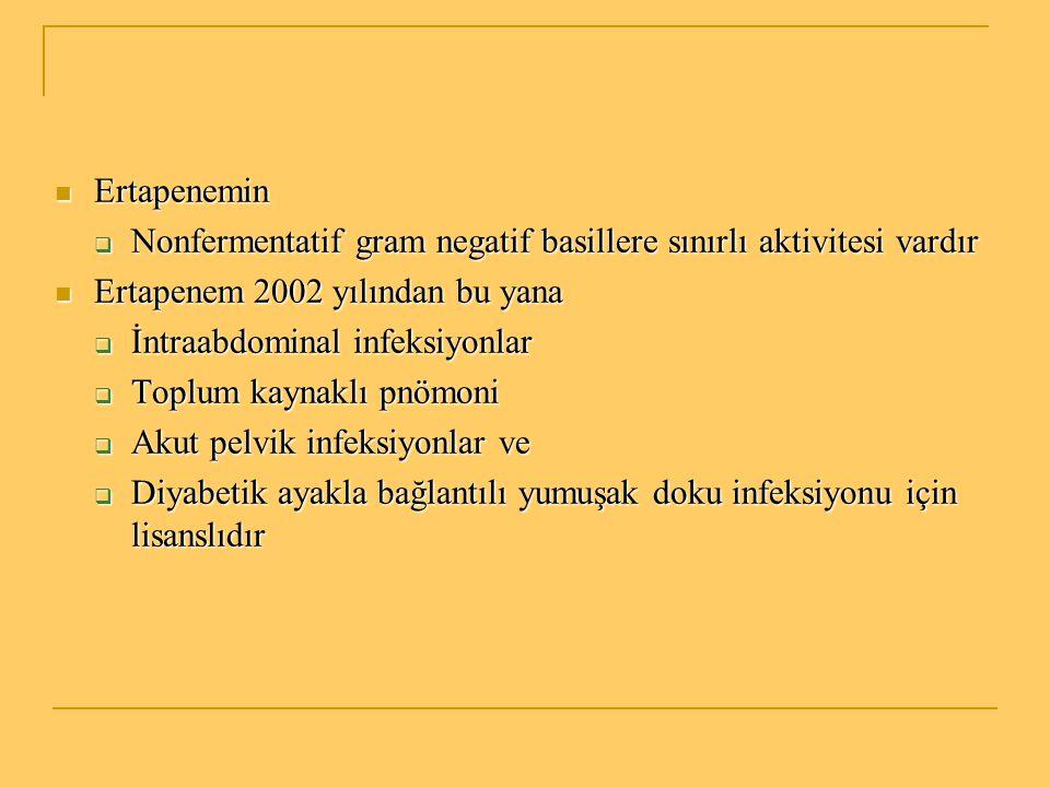 Ertapenemin Ertapenemin  Nonfermentatif gram negatif basillere sınırlı aktivitesi vardır Ertapenem 2002 yılından bu yana Ertapenem 2002 yılından bu y
