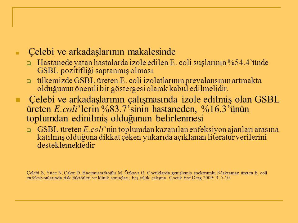 Çelebi ve arkadaşlarının makalesinde  Hastanede yatan hastalarda izole edilen E. coli suşlarının %54.4'ünde GSBL pozitifliği saptanmış olması  ülkem