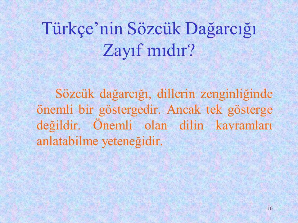 15 Türkçeyle Bilim Yapılamaz mı?  En soyut bilimlerden felsefe ve matematik konuları % 80-85 oranında Türkçe yazılıyor. *Yine 1998'de sayısal teknolo