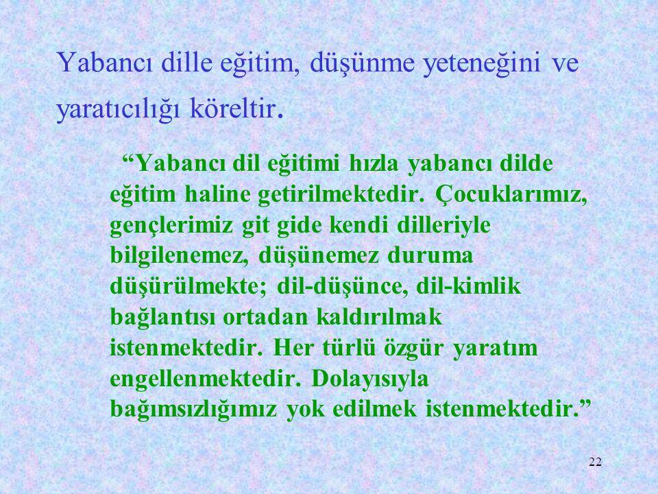 """21 Atatürk, Türkçe ile ulusal duygular arasındaki ilişkiyi şöyle açıklar: """"Ulusal duygu ile dil arasındaki bağ çok kuvvetlidir. Dilin ulusal ve zengin"""