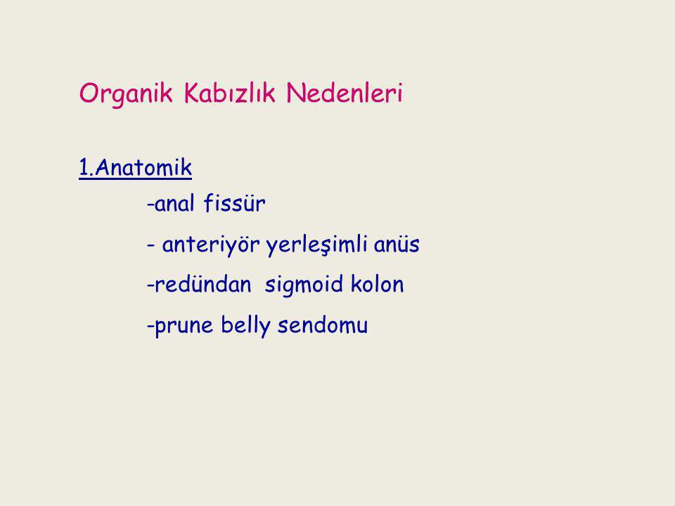Organik Kabızlık Nedenleri 1.Anatomik -anal fissür - anteriyör yerleşimli anüs -redündan sigmoid kolon -prune belly sendomu