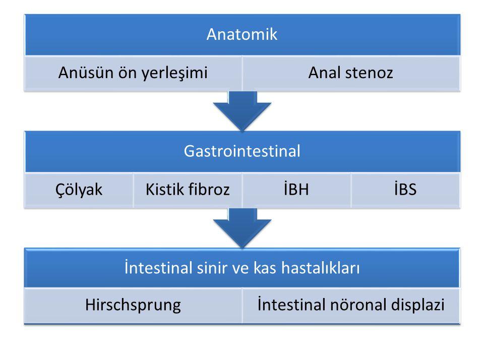 İntestinal sinir ve kas hastalıkları Hirschsprungİntestinal nöronal displazi Gastrointestinal ÇölyakKistik fibrozİBHİBS Anatomik Anüsün ön yerleşimiAn