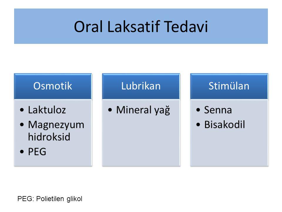 Oral Laksatif Tedavi Osmotik Laktuloz Magnezyum hidroksid PEG Lubrikan Mineral yağ Stimülan Senna Bisakodil PEG: Polietilen glikol