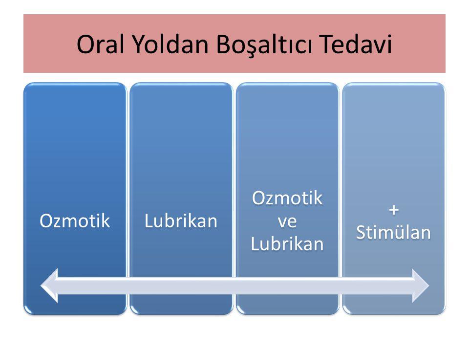 Oral Yoldan Boşaltıcı Tedavi OzmotikLubrikan Ozmotik ve Lubrikan + Stimülan