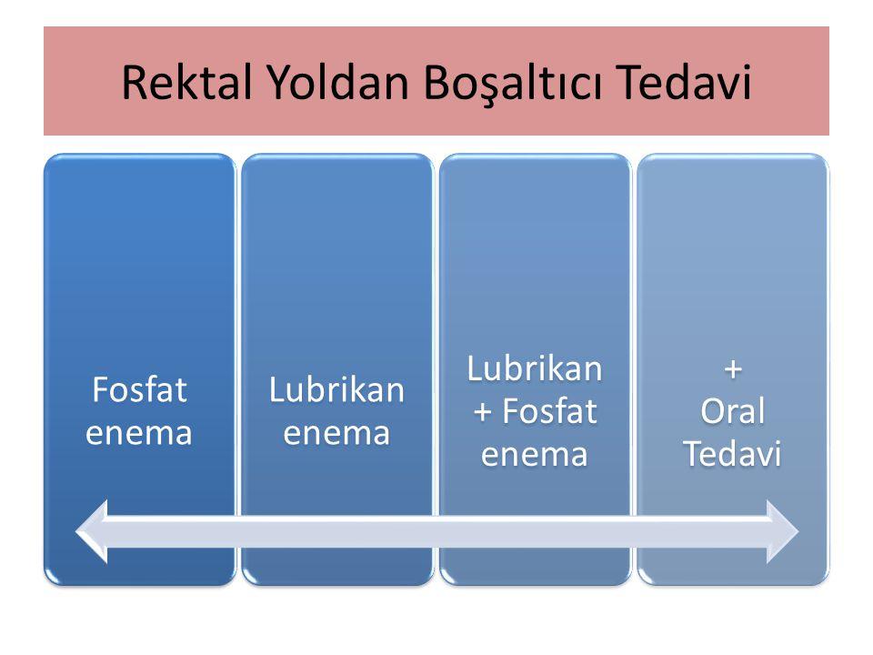Rektal Yoldan Boşaltıcı Tedavi Fosfat enema Lubrikan enema Lubrikan + Fosfat enema + Oral Tedavi