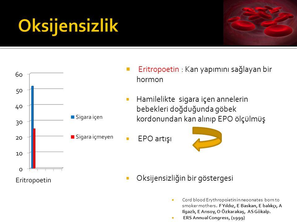  Eritropoetin : Kan yapımını sağlayan bir hormon  Hamilelikte sigara içen annelerin bebekleri doğduğunda göbek kordonundan kan alınıp EPO ölçülmüş 