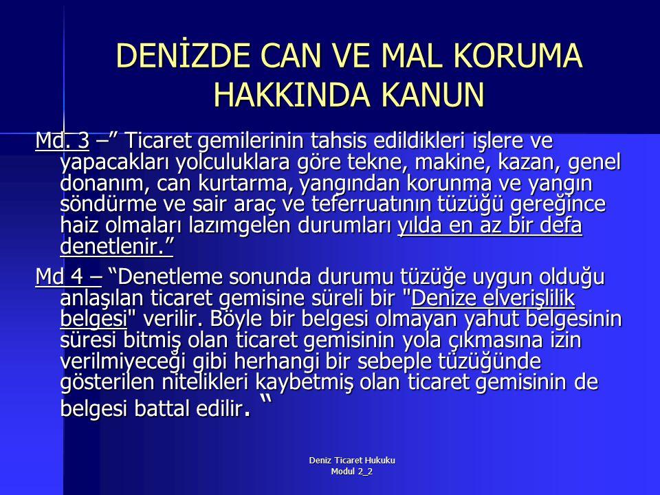 Deniz Ticaret Hukuku Modul 2_2 DENİZDE CAN VE MAL KORUMA HAKKINDA KANUN Md.