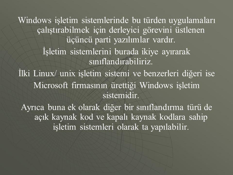 Windows işletim sistemlerinde bu türden uygulamaları çalıştırabilmek için derleyici görevini üstlenen üçüncü parti yazılımlar vardır. İşletim sistemle