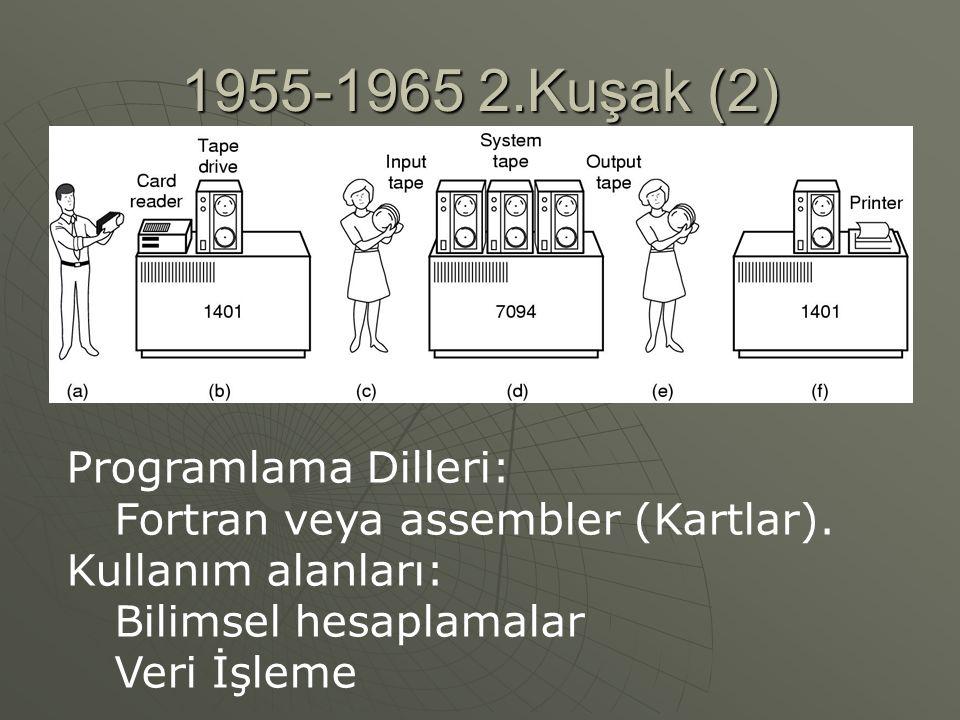 1955-1965 2.Kuşak (2) Programlama Dilleri: Fortran veya assembler (Kartlar).