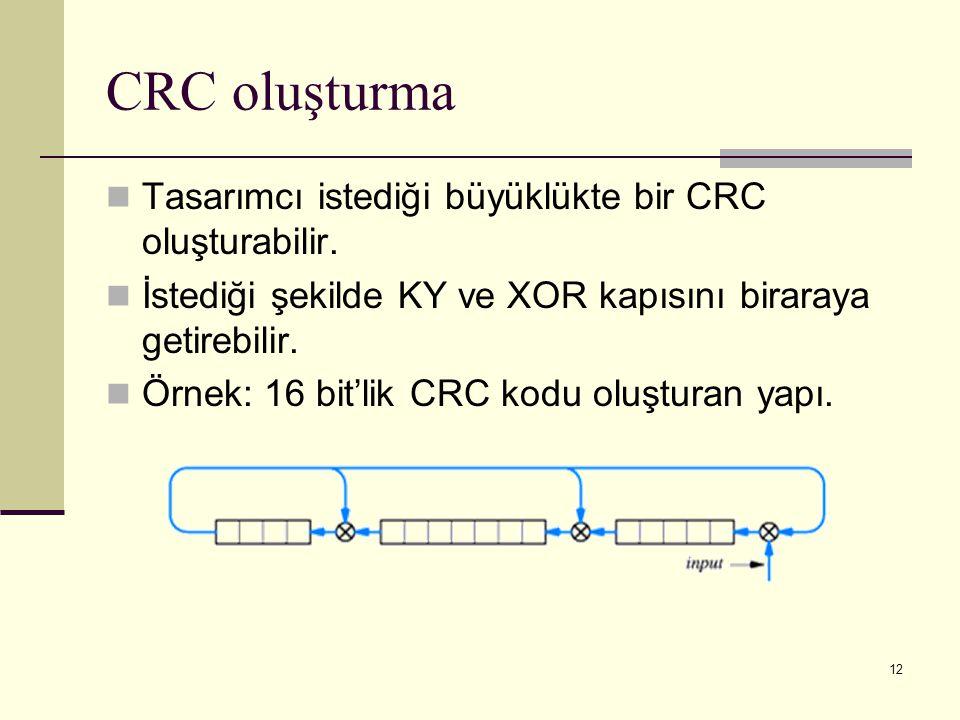 12 CRC oluşturma Tasarımcı istediği büyüklükte bir CRC oluşturabilir. İstediği şekilde KY ve XOR kapısını biraraya getirebilir. Örnek: 16 bit'lik CRC