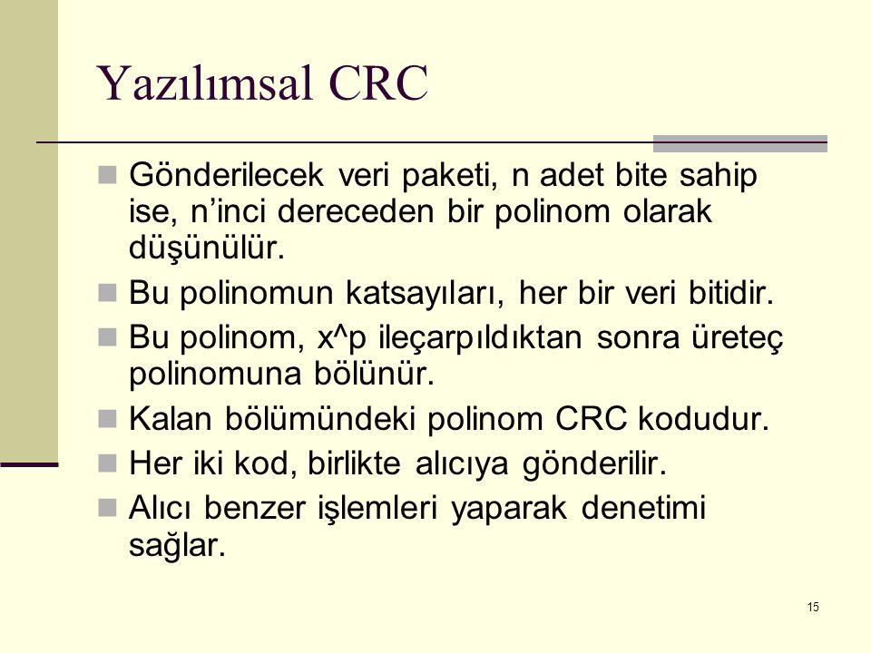 15 Yazılımsal CRC Gönderilecek veri paketi, n adet bite sahip ise, n'inci dereceden bir polinom olarak düşünülür. Bu polinomun katsayıları, her bir ve