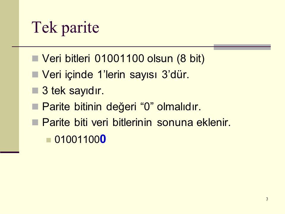"""3 Tek parite Veri bitleri 01001100 olsun (8 bit) Veri içinde 1'lerin sayısı 3'dür. 3 tek sayıdır. Parite bitinin değeri """"0"""" olmalıdır. Parite biti ver"""