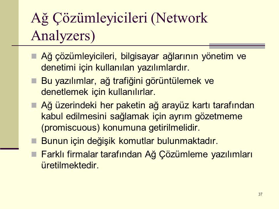 37 Ağ Çözümleyicileri (Network Analyzers) Ağ çözümleyicileri, bilgisayar ağlarının yönetim ve denetimi için kullanılan yazılımlardır. Bu yazılımlar, a