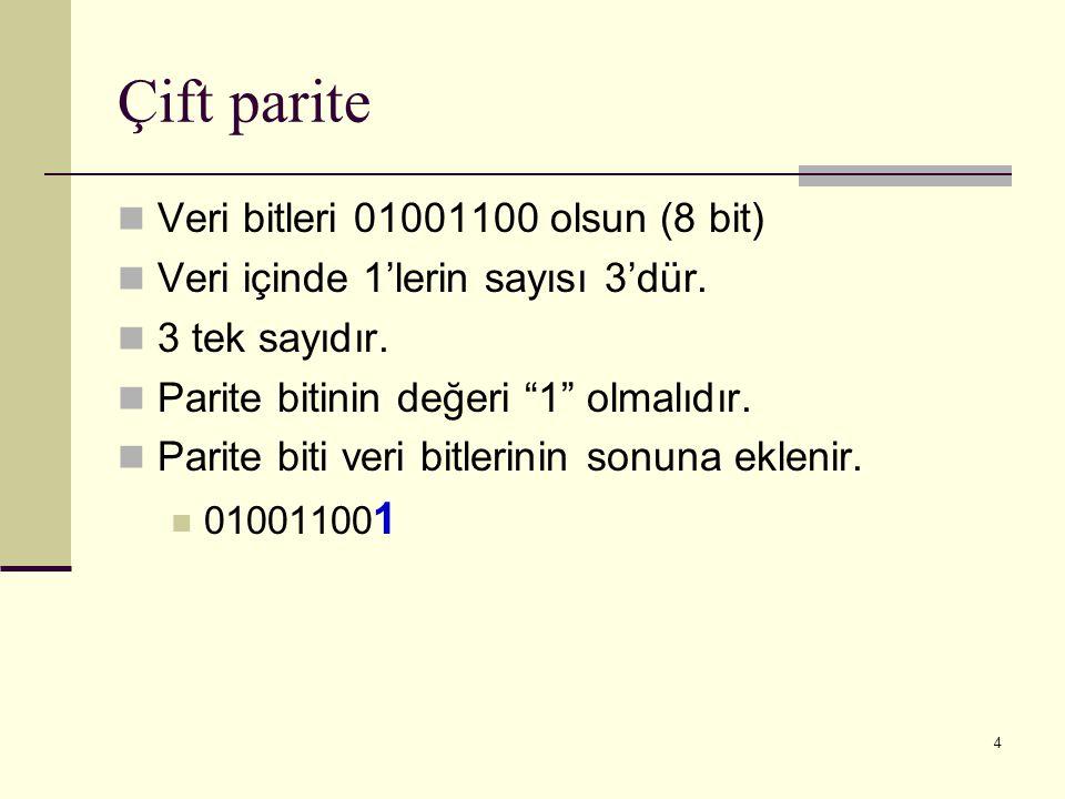 """4 Çift parite Veri bitleri 01001100 olsun (8 bit) Veri içinde 1'lerin sayısı 3'dür. 3 tek sayıdır. Parite bitinin değeri """"1"""" olmalıdır. Parite biti ve"""