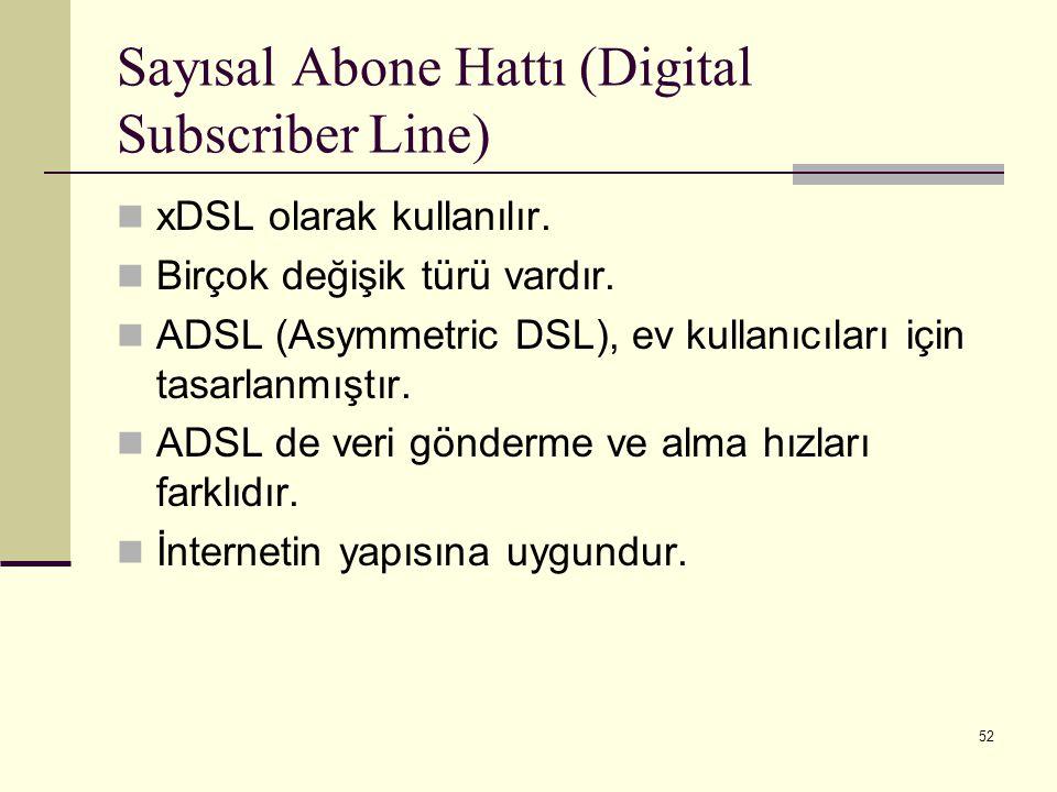 52 Sayısal Abone Hattı (Digital Subscriber Line) xDSL olarak kullanılır. Birçok değişik türü vardır. ADSL (Asymmetric DSL), ev kullanıcıları için tasa