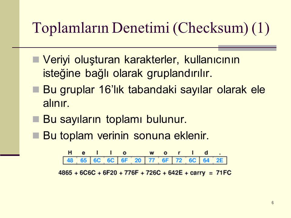6 Toplamların Denetimi (Checksum) (1) Veriyi oluşturan karakterler, kullanıcının isteğine bağlı olarak gruplandırılır. Bu gruplar 16'lık tabandaki say
