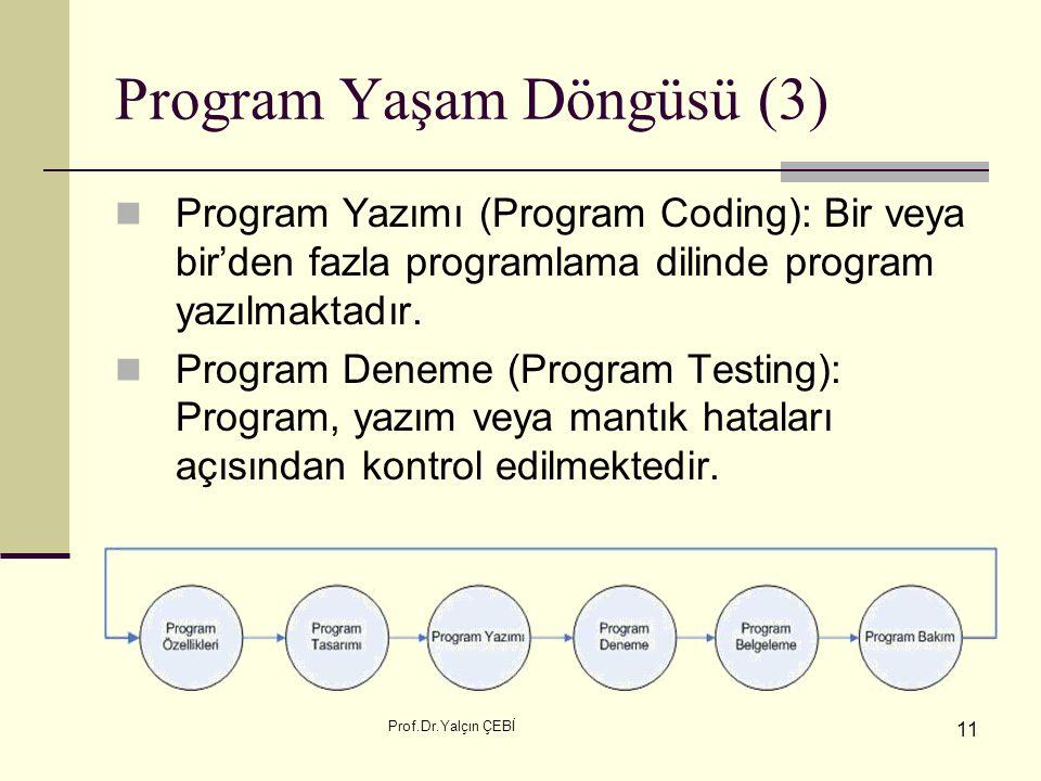 Prof.Dr.Yalçın ÇEBİ 11 Program Yaşam Döngüsü (3) Program Yazımı (Program Coding): Bir veya bir'den fazla programlama dilinde program yazılmaktadır. Pr
