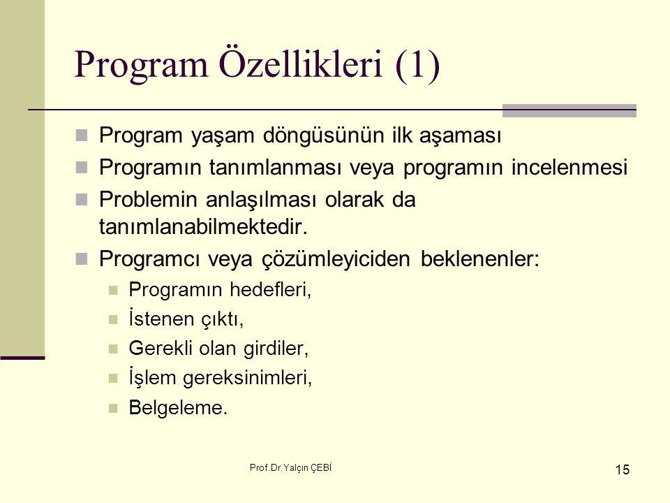 Prof.Dr.Yalçın ÇEBİ 15 Program Özellikleri (1) Program yaşam döngüsünün ilk aşaması Programın tanımlanması veya programın incelenmesi Problemin anlaşı