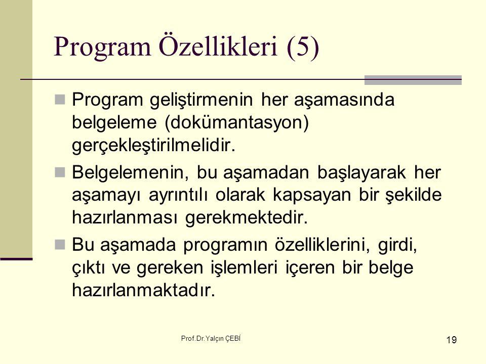 Prof.Dr.Yalçın ÇEBİ 19 Program Özellikleri (5) Program geliştirmenin her aşamasında belgeleme (dokümantasyon) gerçekleştirilmelidir. Belgelemenin, bu