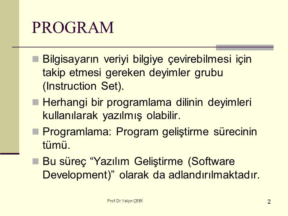 Prof.Dr.Yalçın ÇEBİ 2 PROGRAM Bilgisayarın veriyi bilgiye çevirebilmesi için takip etmesi gereken deyimler grubu (Instruction Set). Herhangi bir progr