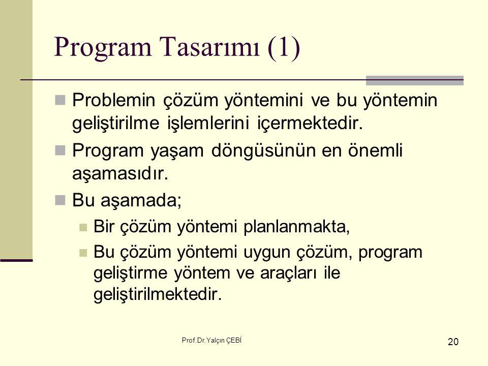 Prof.Dr.Yalçın ÇEBİ 20 Program Tasarımı (1) Problemin çözüm yöntemini ve bu yöntemin geliştirilme işlemlerini içermektedir. Program yaşam döngüsünün e
