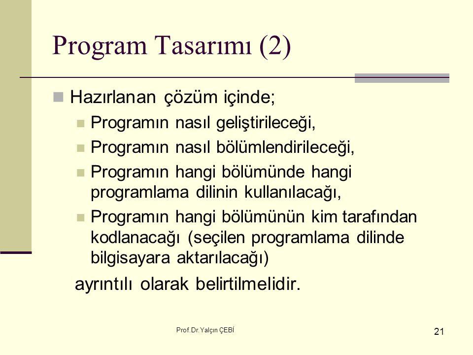 Prof.Dr.Yalçın ÇEBİ 21 Program Tasarımı (2) Hazırlanan çözüm içinde; Programın nasıl geliştirileceği, Programın nasıl bölümlendirileceği, Programın ha