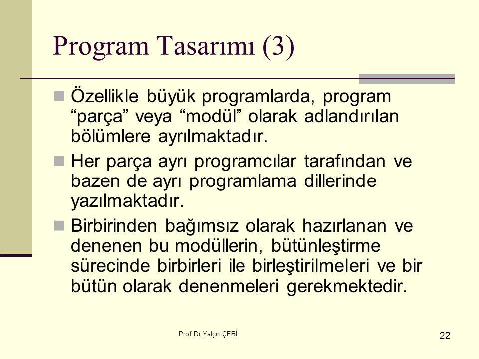 """Prof.Dr.Yalçın ÇEBİ 22 Program Tasarımı (3) Özellikle büyük programlarda, program """"parça"""" veya """"modül"""" olarak adlandırılan bölümlere ayrılmaktadır. He"""