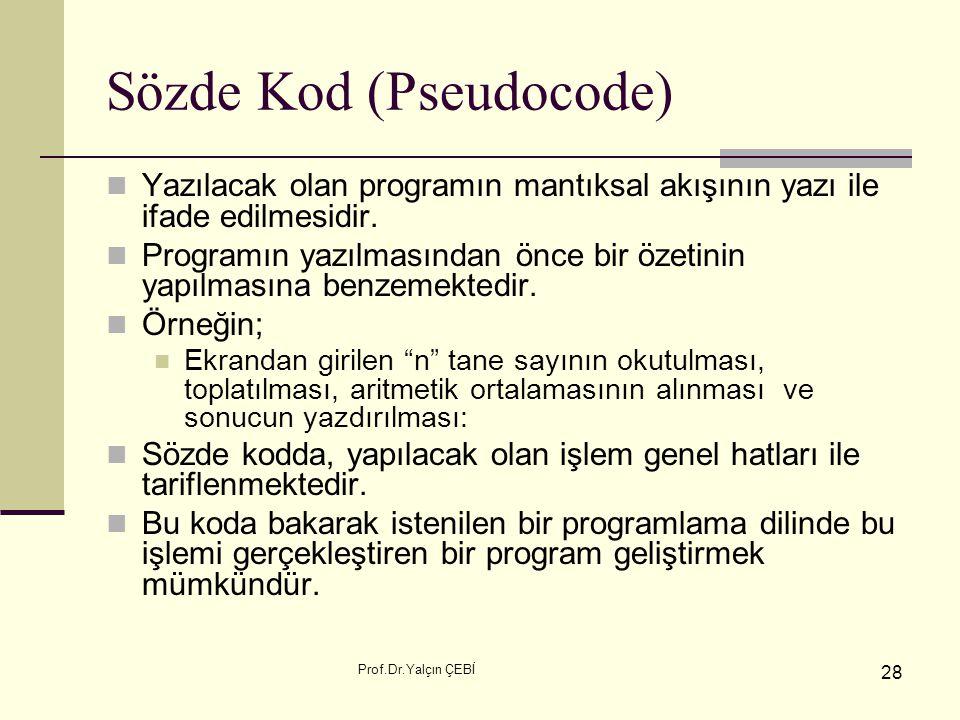 Prof.Dr.Yalçın ÇEBİ 28 Sözde Kod (Pseudocode) Yazılacak olan programın mantıksal akışının yazı ile ifade edilmesidir. Programın yazılmasından önce bir