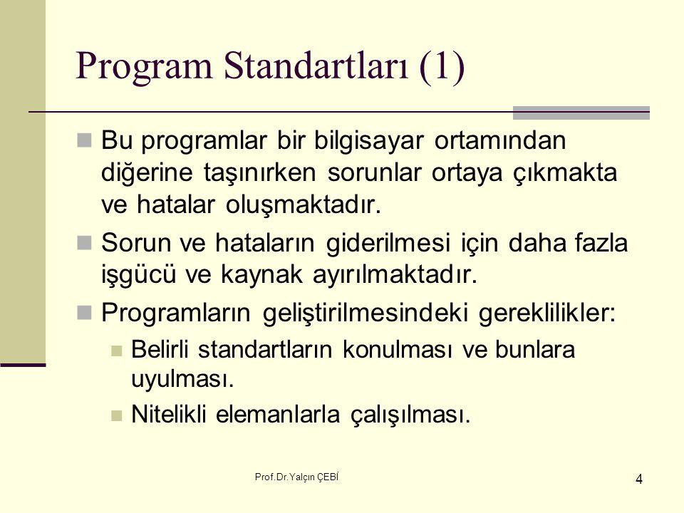 Prof.Dr.Yalçın ÇEBİ 4 Program Standartları (1) Bu programlar bir bilgisayar ortamından diğerine taşınırken sorunlar ortaya çıkmakta ve hatalar oluşmak