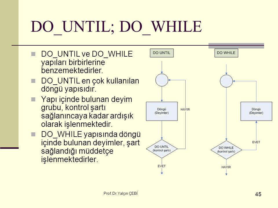 Prof.Dr.Yalçın ÇEBİ 45 DO_UNTIL; DO_WHILE DO_UNTIL ve DO_WHILE yapıları birbirlerine benzemektedirler. DO_UNTIL en çok kullanılan döngü yapısıdır. Yap