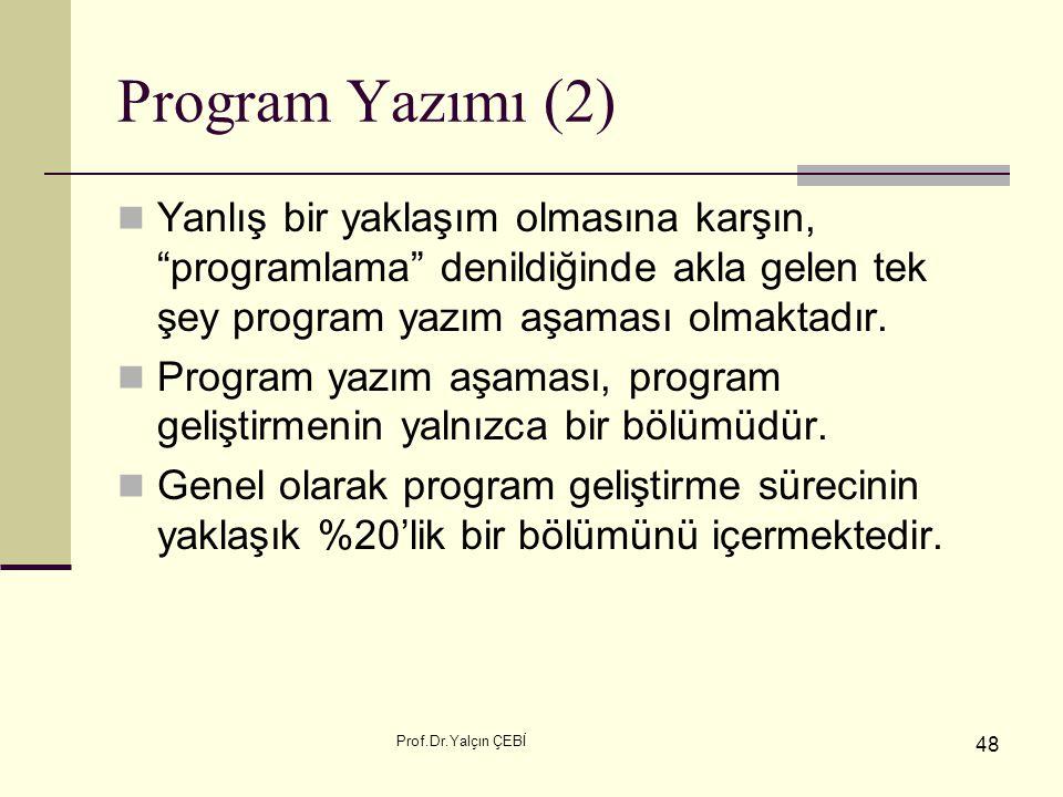 """Prof.Dr.Yalçın ÇEBİ 48 Program Yazımı (2) Yanlış bir yaklaşım olmasına karşın, """"programlama"""" denildiğinde akla gelen tek şey program yazım aşaması olm"""
