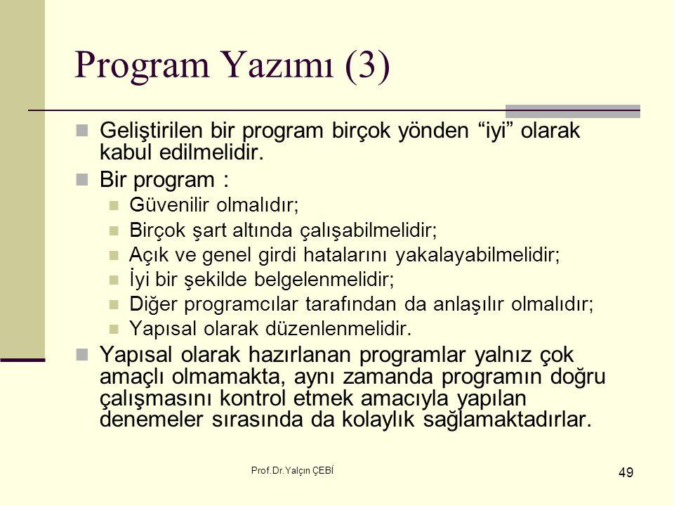 """Prof.Dr.Yalçın ÇEBİ 49 Program Yazımı (3) Geliştirilen bir program birçok yönden """"iyi"""" olarak kabul edilmelidir. Bir program : Güvenilir olmalıdır; Bi"""