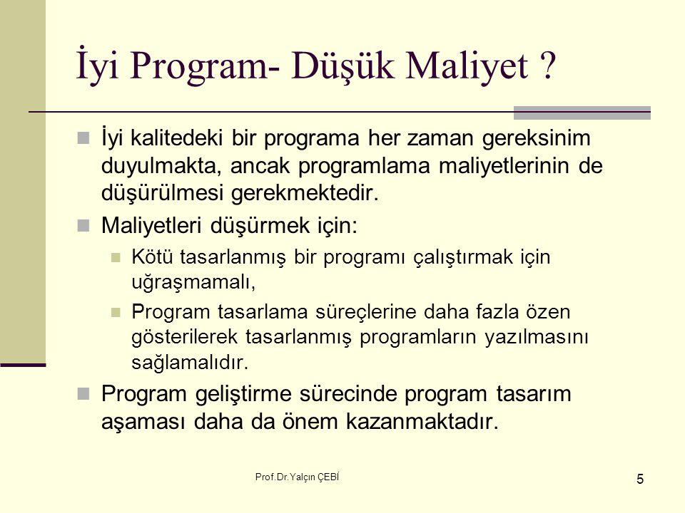 Prof.Dr.Yalçın ÇEBİ 5 İyi Program- Düşük Maliyet ? İyi kalitedeki bir programa her zaman gereksinim duyulmakta, ancak programlama maliyetlerinin de dü