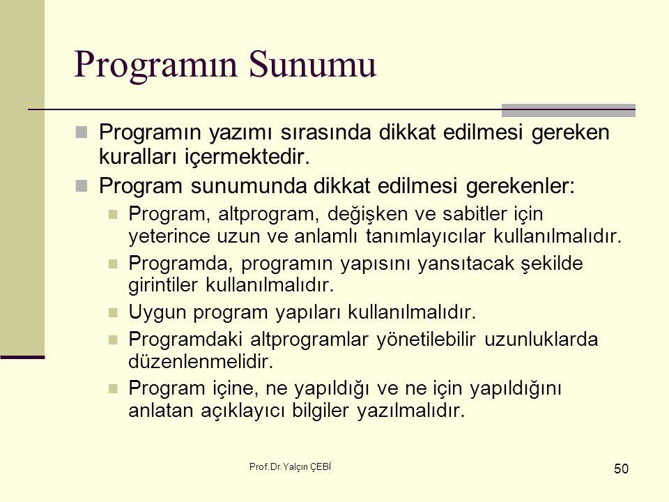 Prof.Dr.Yalçın ÇEBİ 50 Programın Sunumu Programın yazımı sırasında dikkat edilmesi gereken kuralları içermektedir. Program sunumunda dikkat edilmesi g