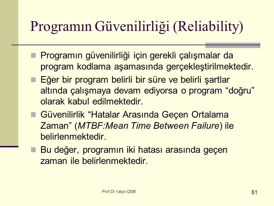Prof.Dr.Yalçın ÇEBİ 51 Programın Güvenilirliği (Reliability) Programın güvenilirliği için gerekli çalışmalar da program kodlama aşamasında gerçekleşti