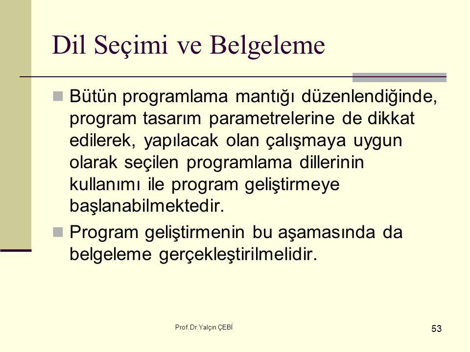 Prof.Dr.Yalçın ÇEBİ 53 Dil Seçimi ve Belgeleme Bütün programlama mantığı düzenlendiğinde, program tasarım parametrelerine de dikkat edilerek, yapılaca