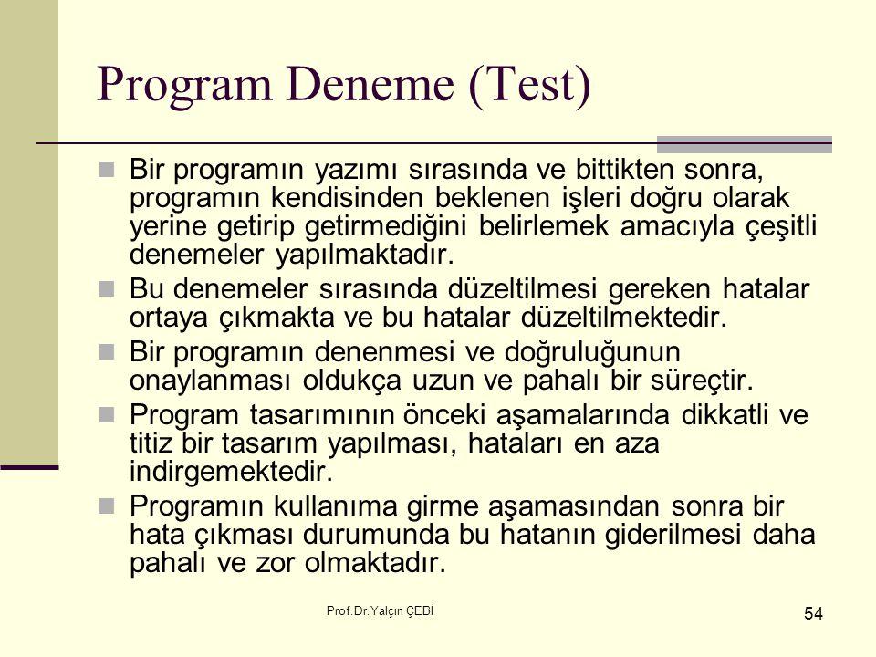 Prof.Dr.Yalçın ÇEBİ 54 Program Deneme (Test) Bir programın yazımı sırasında ve bittikten sonra, programın kendisinden beklenen işleri doğru olarak yer
