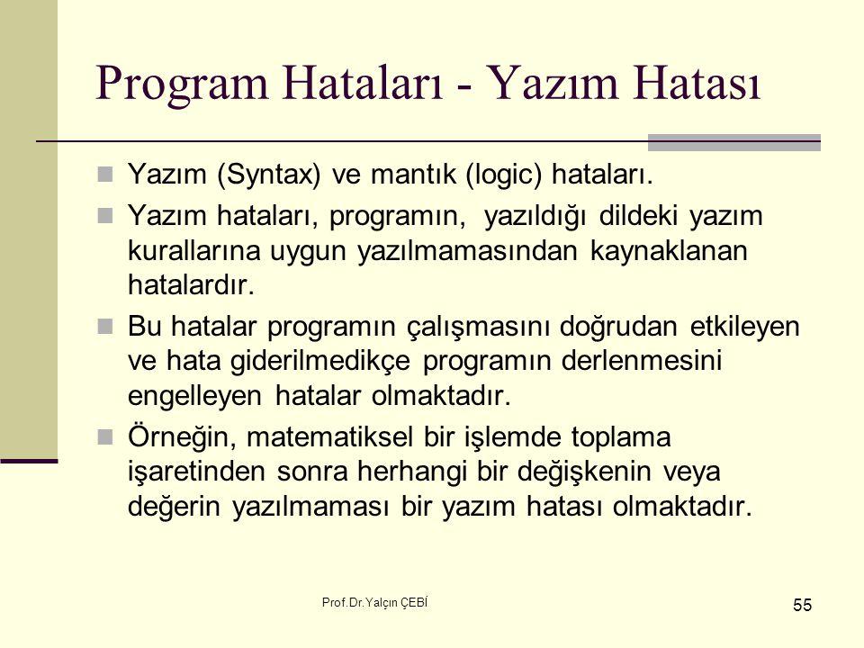 Prof.Dr.Yalçın ÇEBİ 55 Program Hataları - Yazım Hatası Yazım (Syntax) ve mantık (logic) hataları. Yazım hataları, programın, yazıldığı dildeki yazım k