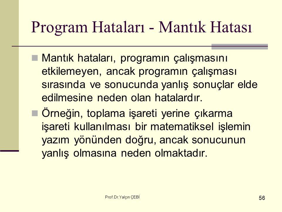 Prof.Dr.Yalçın ÇEBİ 56 Program Hataları - Mantık Hatası Mantık hataları, programın çalışmasını etkilemeyen, ancak programın çalışması sırasında ve son