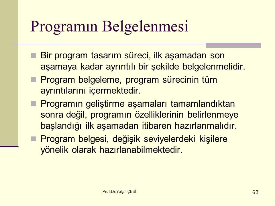 Prof.Dr.Yalçın ÇEBİ 63 Programın Belgelenmesi Bir program tasarım süreci, ilk aşamadan son aşamaya kadar ayrıntılı bir şekilde belgelenmelidir. Progra