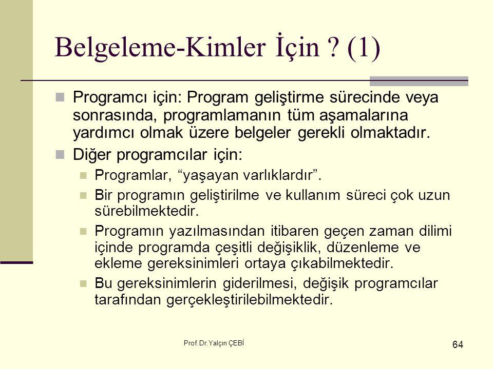 Prof.Dr.Yalçın ÇEBİ 64 Belgeleme-Kimler İçin ? (1) Programcı için: Program geliştirme sürecinde veya sonrasında, programlamanın tüm aşamalarına yardım