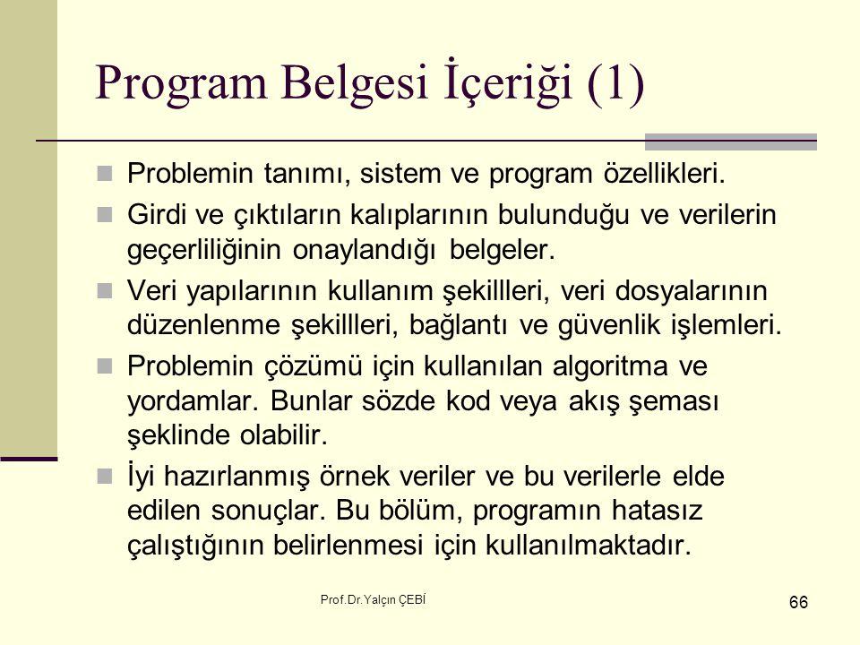 Prof.Dr.Yalçın ÇEBİ 66 Program Belgesi İçeriği (1) Problemin tanımı, sistem ve program özellikleri. Girdi ve çıktıların kalıplarının bulunduğu ve veri